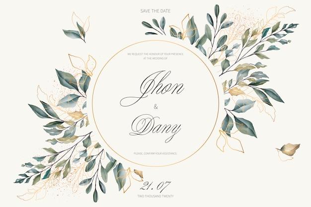 Invitación de boda elegante con hojas doradas y verdes vector gratuito