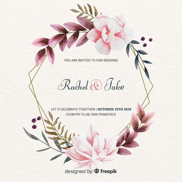 Invitación de boda elegante marco floral vector gratuito