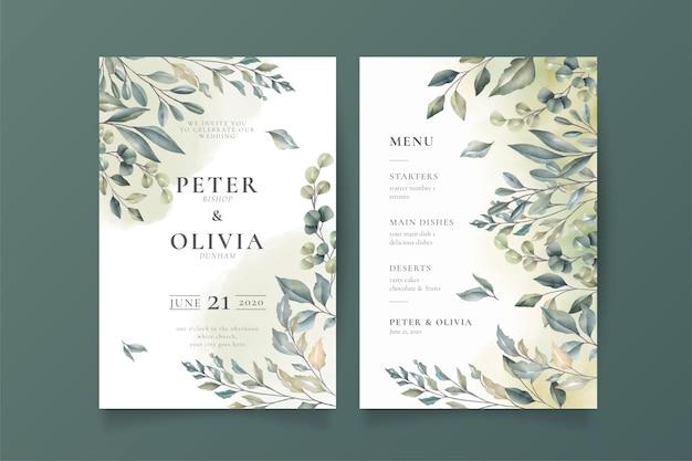 Invitación de boda elegante y plantilla de menú vector gratuito
