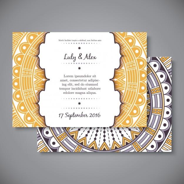 Invitación de boda de estilo boho vector gratuito