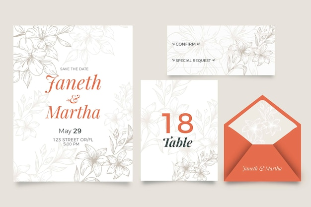 Invitación de boda con estilo floral vector gratuito
