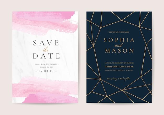 Invitación de boda en estilo de lujo Vector Premium