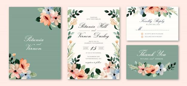 Invitación de boda con flor floral acuarela Vector Premium