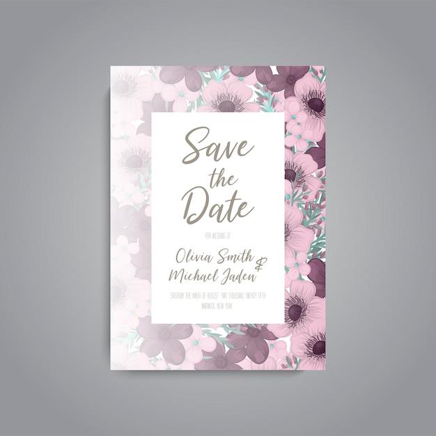 Invitación de boda con flor rosa Vector Premium