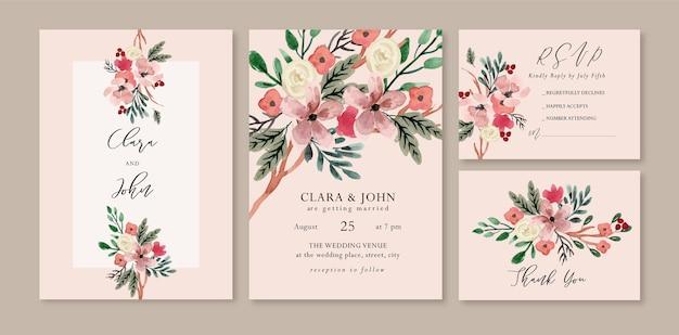Invitación de boda floral acuarela rosa blanca y hojas cálidas Vector Premium