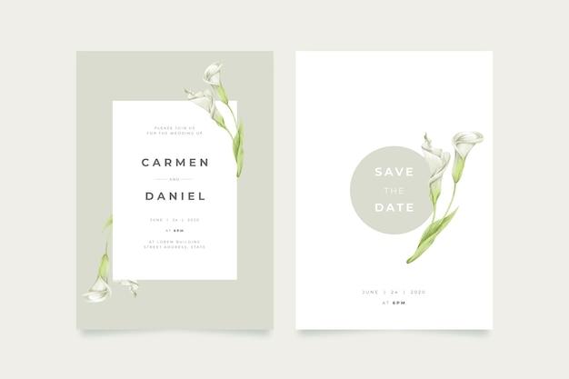 Invitación de boda floral elegante minimalista de plantilla vector gratuito