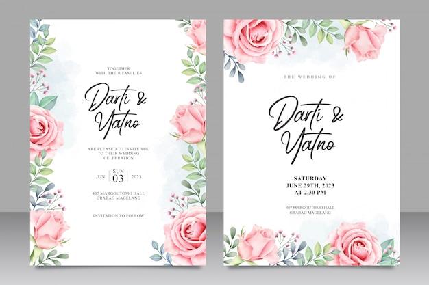Invitación de boda floral establece plantilla acuarela Vector Premium