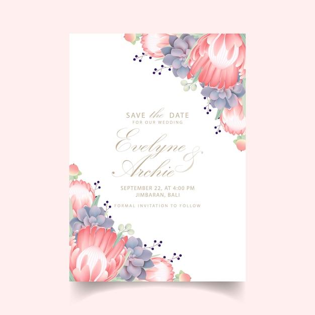 Invitación de boda floral con flor protea y suculenta. Vector Premium