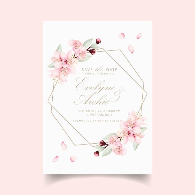 Invitación de boda floral con flores de cerezo. Vector Premium