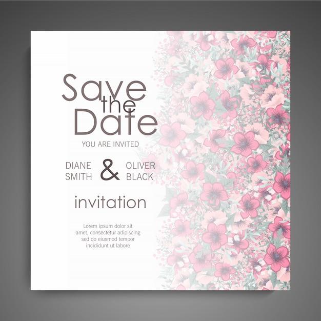 Invitación de boda floral con flores de colores vector gratuito