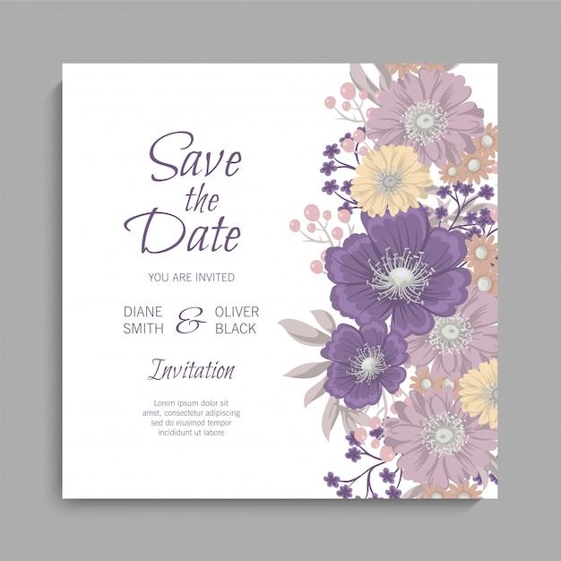 Invitación de boda floral con flores moradas vector gratuito