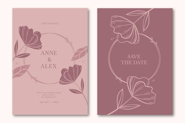 Invitación de boda floral guardar la fecha Vector Premium
