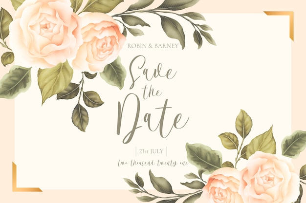 Invitación de boda floral hermosa con peonías melocotón vector gratuito