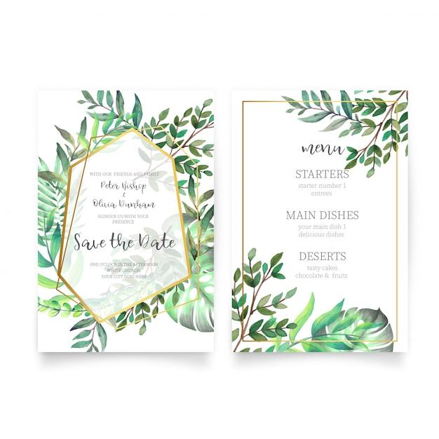 Invitación de boda floral con hojas de acuarela vector gratuito