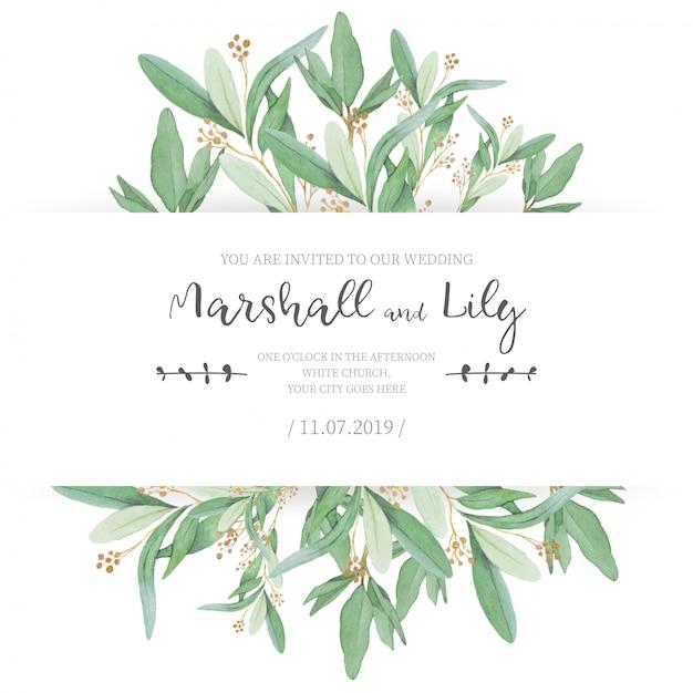 Invitación de boda floral con hojas ornamentales vector gratuito