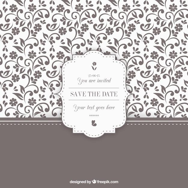 Invitación de boda floral ornamental vector gratuito