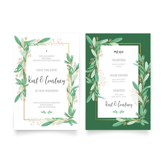 Invitación de boda floral con plantilla de menú vector gratuito