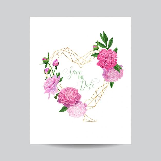 Invitación de boda floral save the date frame Vector Premium