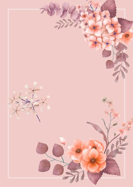 Invitación de boda floral temática rosa vector gratuito