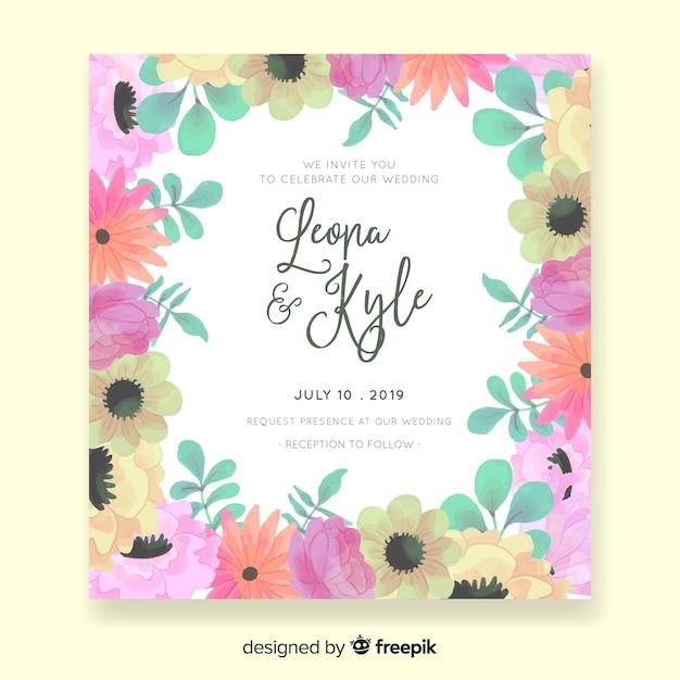 Invitación de boda floral vector gratuito