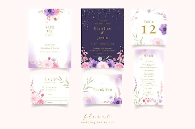Invitación de boda con flores acuarela rosa, anémona y gerbera vector gratuito