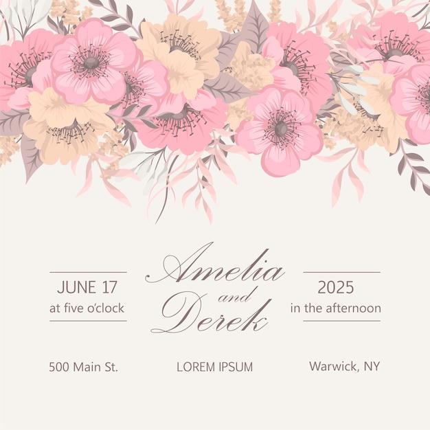 Invitación de boda con flores de colores. Vector Premium