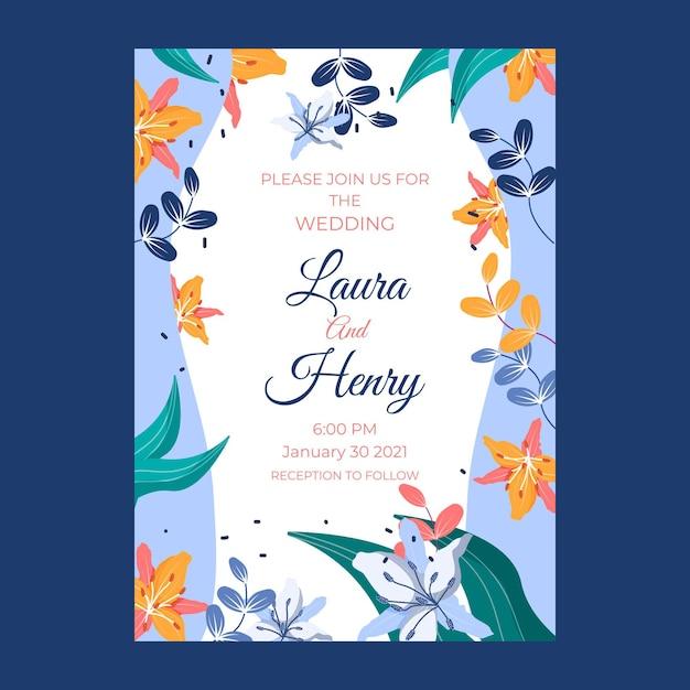 Invitación de boda con flores y hojas vector gratuito