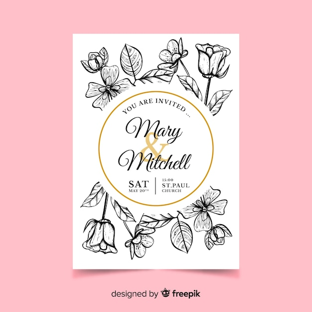 Invitación de boda de flores realistas vector gratuito