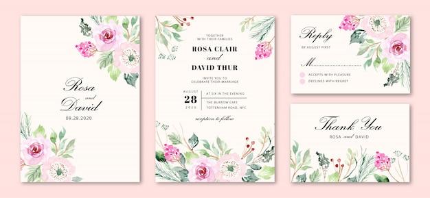 Invitación de boda con flores rosas dulces Vector Premium