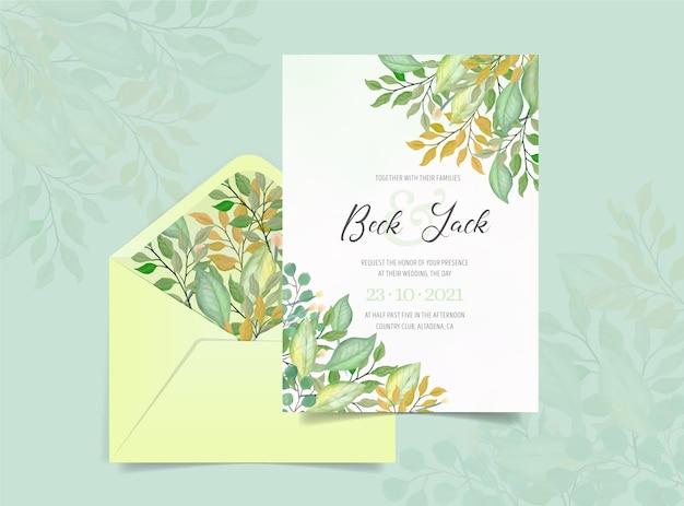 Invitación de boda con follaje de acuarela vector gratuito