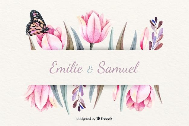 Invitación de boda con fondo floral acuarela vector gratuito