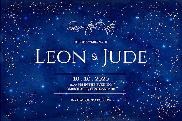 Invitación de boda galaxia acuarela vector gratuito
