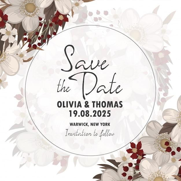 Invitación de boda. guardar la tarjeta de fecha. vector gratuito