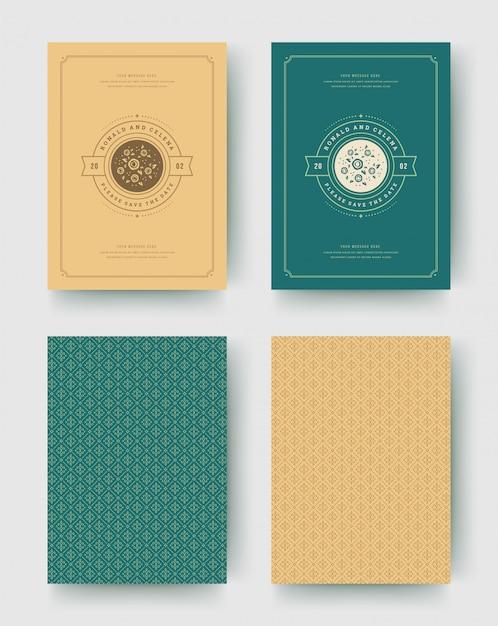 Invitación de boda guardar las tarjetas de fecha vintage diseño tipográfico plantilla Vector Premium