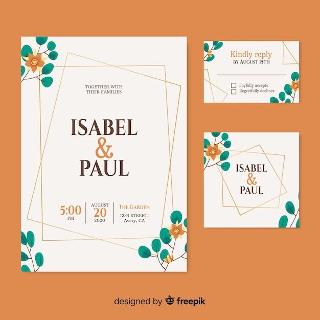 Invitación de boda hermosa con fecha y nombre de pareja vector gratuito