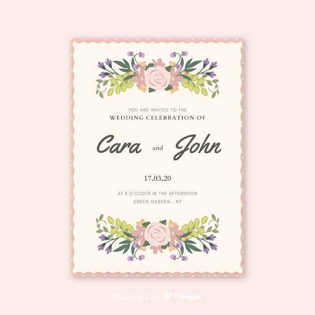 Invitación de boda hermosa con flores acuarelas vector gratuito