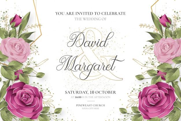 Invitación de boda hermosa con flores lindas vector gratuito