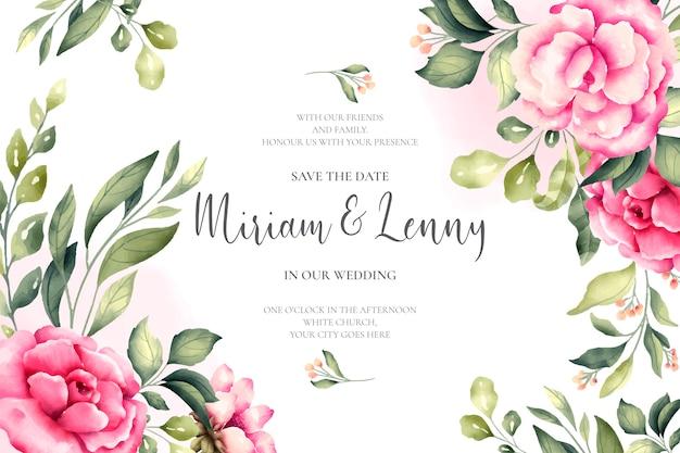 Invitación de boda hermosa con flores rosas vector gratuito