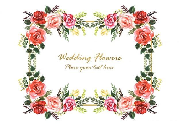Invitación de boda hermosa marco de flores decorativas vector gratuito