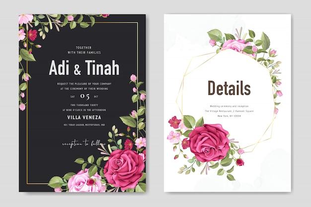 Invitación de boda hermosa con plantilla de fondo floral y hojas Vector Premium