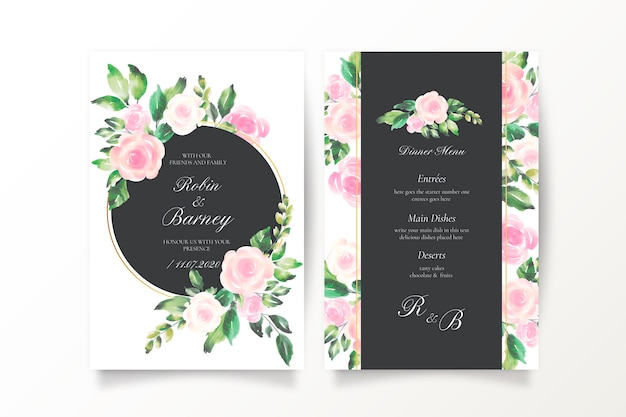 Invitación de boda hermosa y plantilla de menú vector gratuito