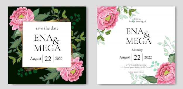 Invitación de boda con hermosas flores hojas Vector Premium
