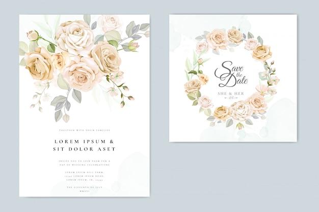 Invitación de boda hermoso marco floral Vector Premium