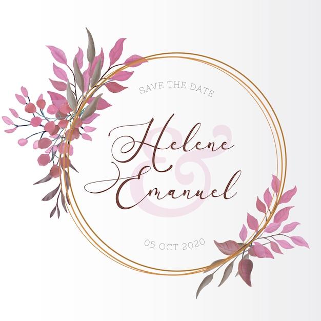 Invitación de boda con hojas de acuarela vector gratuito
