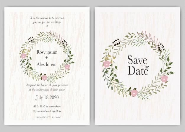 Invitación de boda, invitación, guardar el diseño de la tarjeta de fecha con elegante anémona de jardín de lavanda. Vector Premium