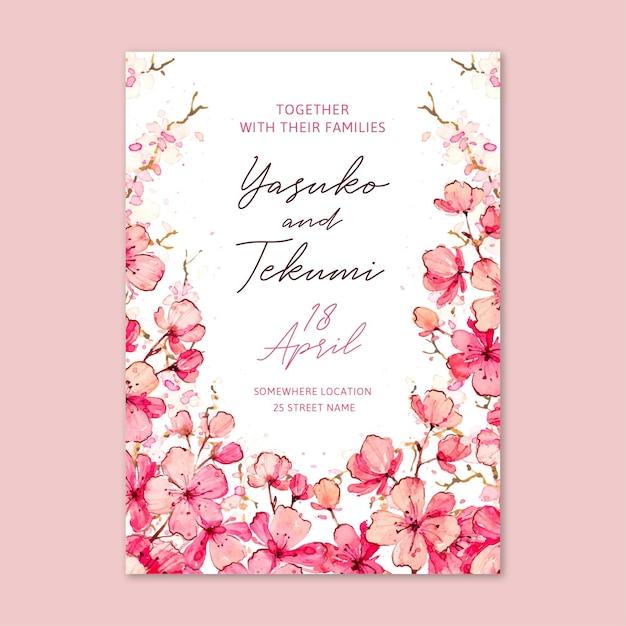 Invitación de boda japonesa floral acuarela vector gratuito