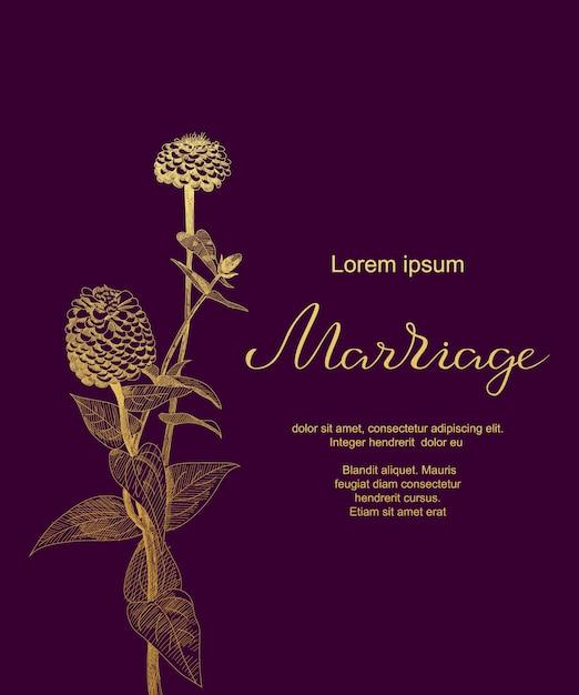 Invitación de boda de lujo con flores de zinnia sketch, hojas. plantilla de tarjeta de matrimonio. Vector Premium