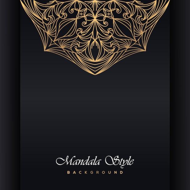 Invitación de boda de lujo mandala Vector Premium