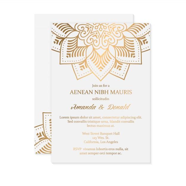 Invitación de boda de lujo vector gratuito