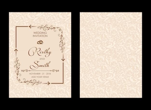 Invitación de boda de lujo Vector Premium